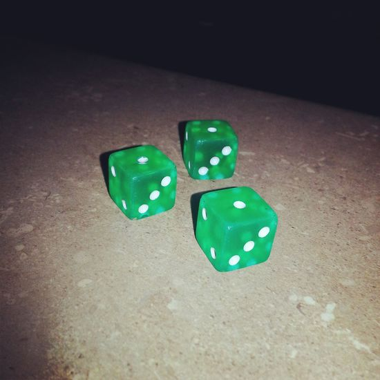 When you drop your dice and they all happen to land the same way. Chance Close-up Counter Dice Flash Green Color Indoors  Love What I Do Luck One Person Photography RISK Taking Photos Tree