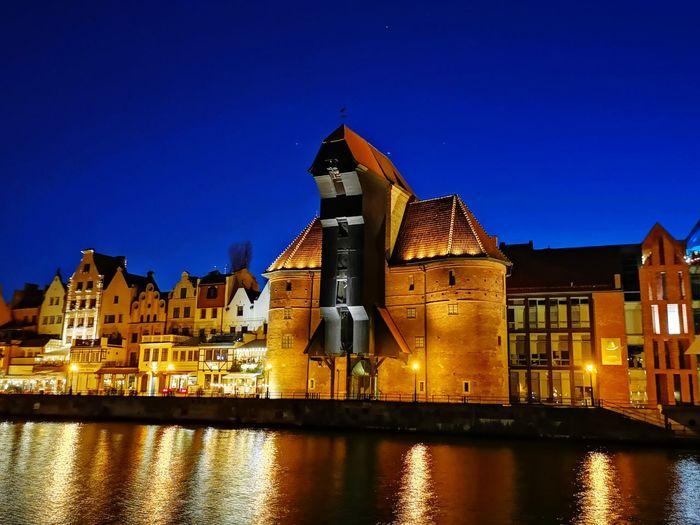 Gdańsk Port Crane Crane Old Town Poland Gdansk Night Historical Building City Cityscape Illuminated Blue