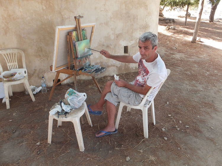 Painter Arrangement Chair Composition Greece Greek Hobby Man Occupation Painter Painting Relaxation Rethimnon Seat Shade Shaded Sitting