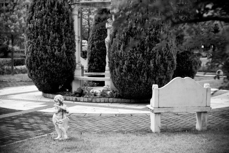 Statue Objects Garden Garden Photography Trees Tree Bench Grass Monochrome Black And White Black & White Street Photography Streetphotography Kobe, Japan