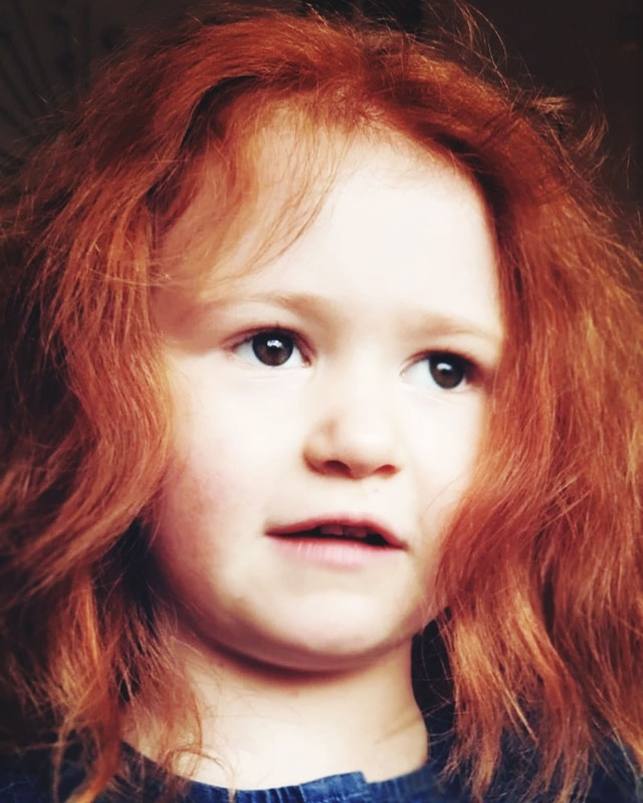 portrait, redhead, headshot, one person, looking at camera, child, close-up, childhood, front view, real people, women, hairstyle, hair, indoors, body part, innocence, human body part, girls, human face, bangs, human hair, beautiful woman