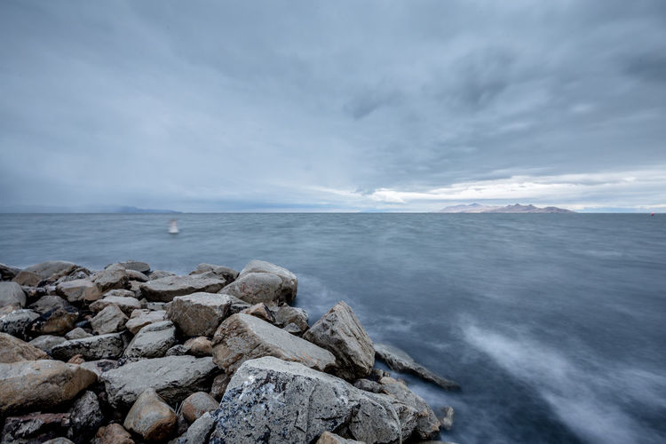 Sea Beach Horizon Over Water Dramatic Sky Nature Scenics Cloud - Sky Landscape Water Wave Sky Utah The Great Salt Lake
