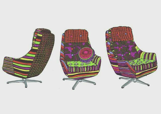 My very first paid commission back in 2010. COMMISSION Chairs Design Drawing Furniture Design Rainbow Textiles Illustration Colourful Seat