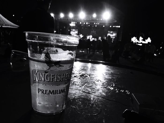A glass of Beer at the Punemusicfestival2016 Food And Drink Communication Refreshment Iphone6s Text Blackandwhite