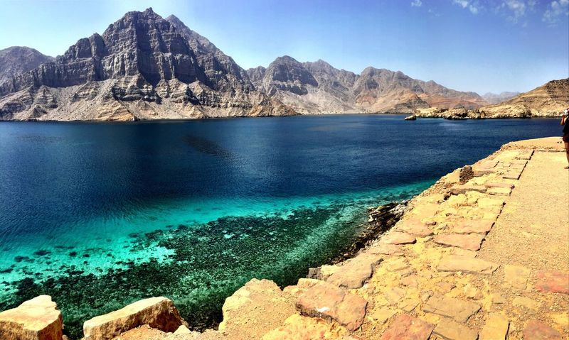 Le Grand Bleu The Big Blue ShotOnIphone Musandam Oman Taking Pictures Wild Places No Filter Check This Out IPhoneography Panorama Panoramic Panoramic Photography Panoramic View Colour Of Life