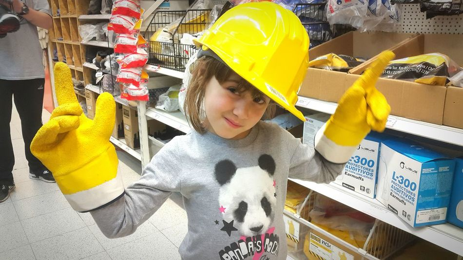 Child Children Only Childhood One Person Horizontal People Indoors  Kids Kids Being Kids Safety First! Safety First Yellow Hat Yellow Gloves Kids Photography Kids Portrait Kidsphotography Kids Having Fun Kidsportrait Kids Playing Safetyfirst Industrialbeauty Little Girl Smile Sweet Sweety