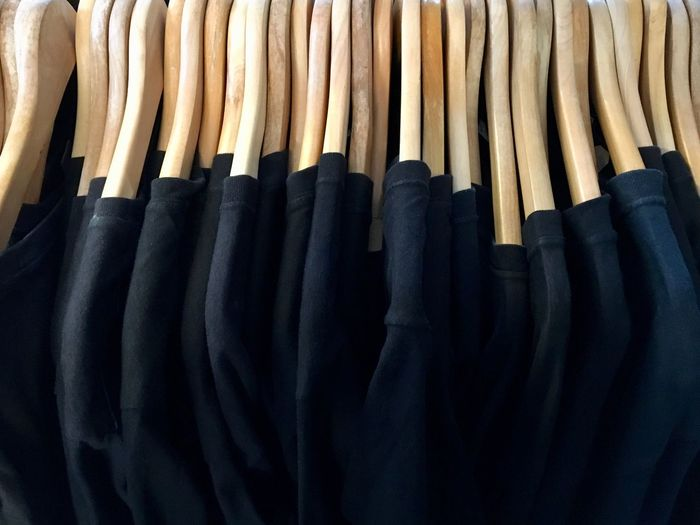 same same but different Consumerism Shopping Time Same Same But Different T-shirt Black Choice In A Row Large Group Of Objects Coathanger Clothing Variation Hanging Arrangement Close-up