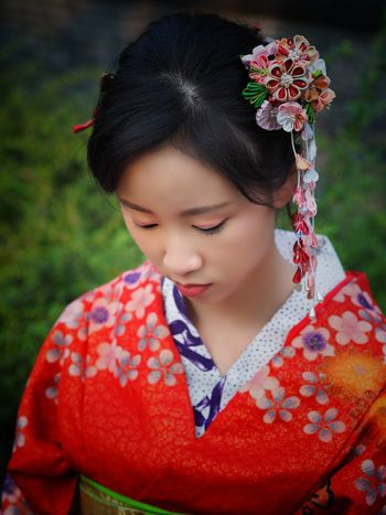 beautiful woman in red kimono Japanese Culture Japanese Style Woman In Kimono Kanzashi Woman Portrait Portrait Of A Woman Child One Person Red Childhood Girls One Girl Only People Headshot Close-up Portrait