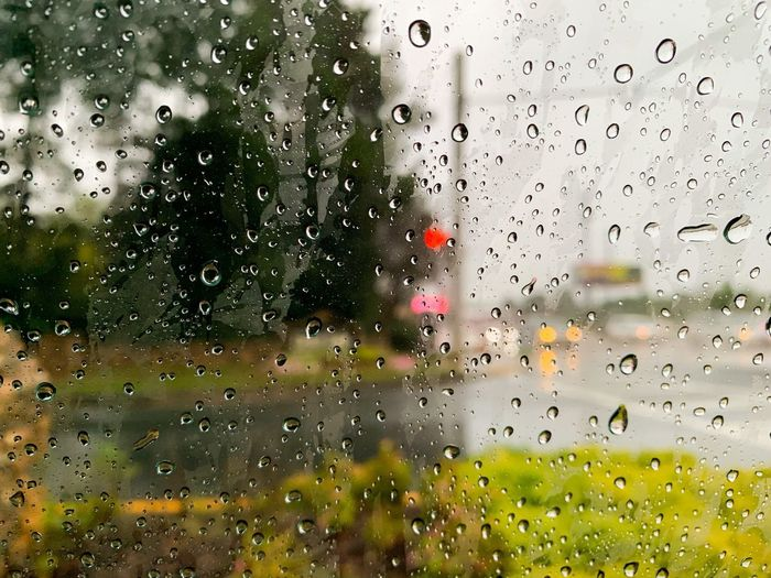 Wet Water Drop Window Glass - Material Rain Transparent No People Backgrounds RainDrop Full Frame Nature Day Monsoon Rainy Season Indoors  Car Brightly Lit Close-up