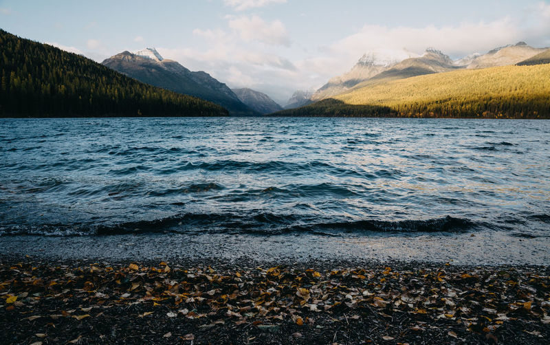 Water Beauty In Nature Mountain Sky Scenics - Nature Nature No People Idyllic Flowing Water Beach Outdoors Glacier National Park Montana Lake Lakeside Mountain Range