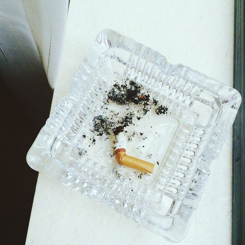 Cigarette butt in ashtray