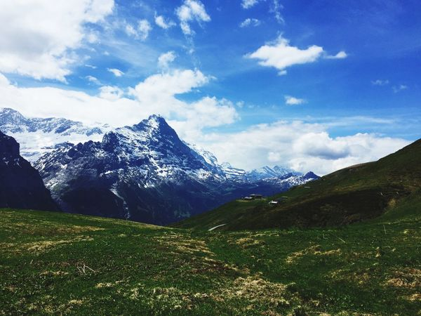 Eiger Hiking Mountain Grass Sky Cloud - Sky Nature Beauty In Nature Scenics Landscape Outdoors No People Field Mountain Range Day EyeEmNewHere EyeEmNewHere