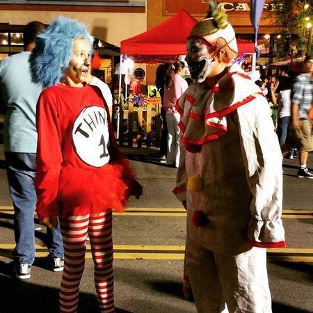 Thing1 versus Twisty Americanhorrorstory AHSFREAKSHOW AHS costume hauntfest halloween mydaughter clown