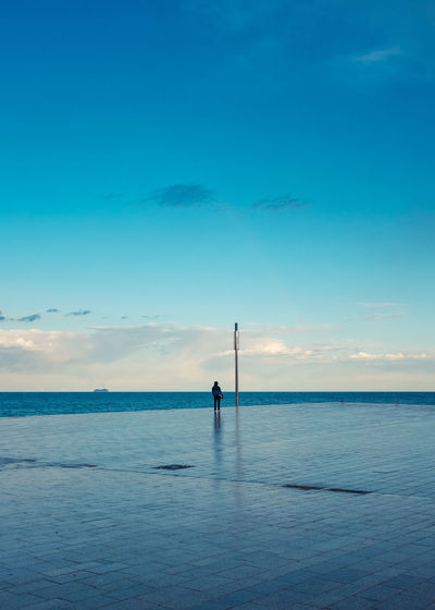 Beauty In Nature Blue Day Horizon Over Water One Person Outdoors Scenics Sea Sky The Architect - 2017 EyeEm Awards Tranquil Scene Tranquility Water