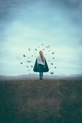 Butterfly Girl Sky One Person Real People Cloud - Sky Day Women Nature Girl Butterfly