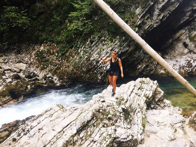 Rock - Object Adventure Nature Full Length Motion River One Person Rock Climbing Waterfall Day Extreme Sports Beauty In Nature Outdoors Water Leisure Activity Forest Scenics Activity RISK Real People