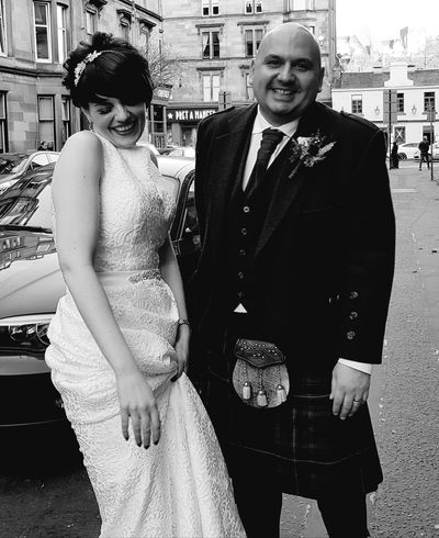 Looking At Camera Smiling Togetherness Happiness Eyem Best Shots Weddingday  Beautiful Woman Weddingday  Black & White Photography Adults Only The Best From Holiday POV Beauty Bride And Groom, Grooms Hand, Brides Hand, Love, Couple, Newlyweds, French Cuff, Bridal Bouquet Old-fashioned Scottish Wedding