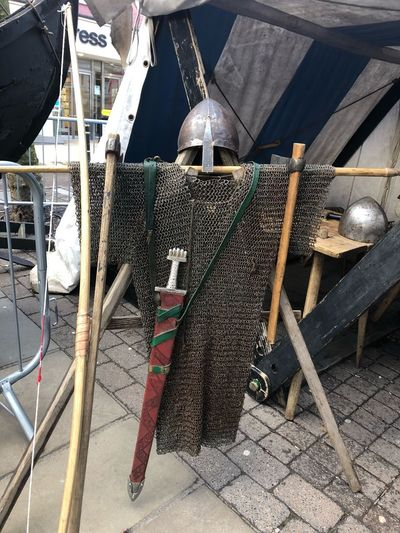 Ready Helmet Yorvik Sword Chainmail Mail Sunlight Day No People High Angle View Outdoors Nature Large Group Of Objects