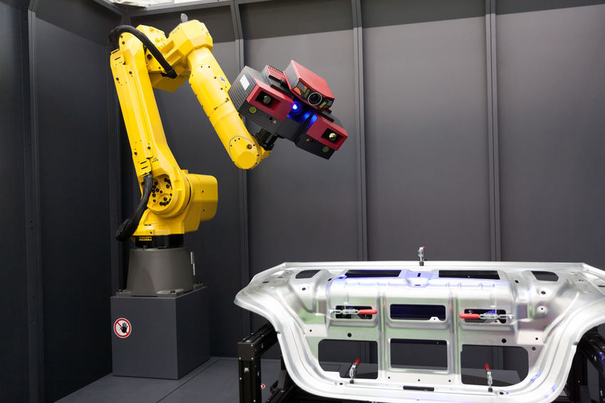 Combined 3D scanner and robotic arm automate scanning. Optical 3D coordinate measuring machine. 3D 3d Scanner Camera Measuring Production Automate Scanning Automated Scanning Automotive Factory Industry Inspecting Machinery Manufacturing Manufacturing Equipment Measuring Machine Metal Industry Optical Robot Robotic Robotic Arm Scan Scanner  Scanning Technology