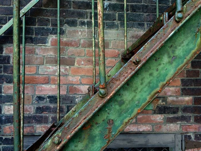 Stairs Outside Shadows Urban EyeEmNewHere Brattleboro Peeling Paint Green Alley Bricks Fire Escape Patina Urban Decay Rust EyeEmNewHere