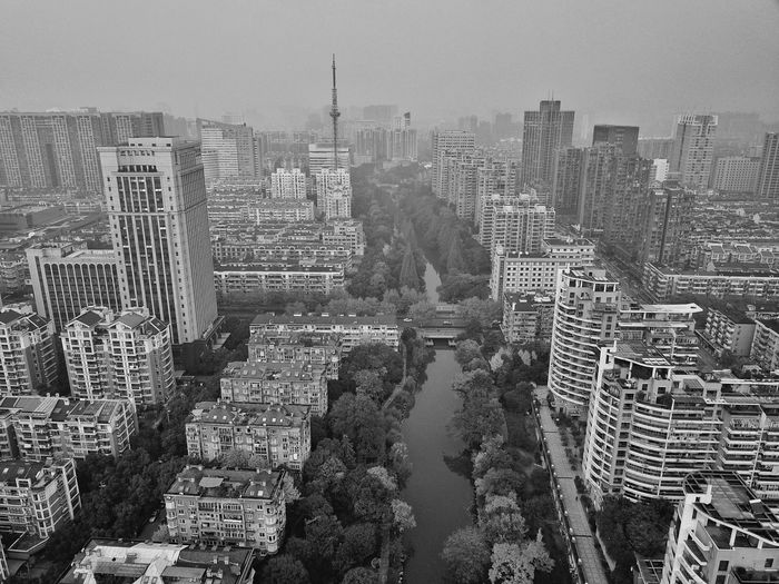 City Skyscraper Cityscape Urban Skyline Sky Outdoors Aerial View Day No People Architecture Building Exterior B&w Blackandwhite Hangzhou Cityscape City Stories From The City