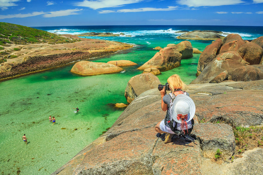 Travel photographer takes shot of Elephant Rocks in William Bay National Park, Western Australia. Professional photography with amazing South Coast Denmark. Great Southern Ocean coastline. William Bay National Park National Park Western Australia Western Australia Beaches Australia Denmark Sea Beach Tourism Travel Destinations Vacations Nature Sand Stones Cliff Rocks Boulders Elephant Cove Snorkeling Photo Diving Swimming Natural Pool Woman Female Girl Water Rock Rock - Object Solid Leisure Activity Lifestyles Land Sitting Real People Beauty In Nature Adult People Day Two People Women Scenics - Nature Couple - Relationship Horizon Over Water Outdoors Looking At View