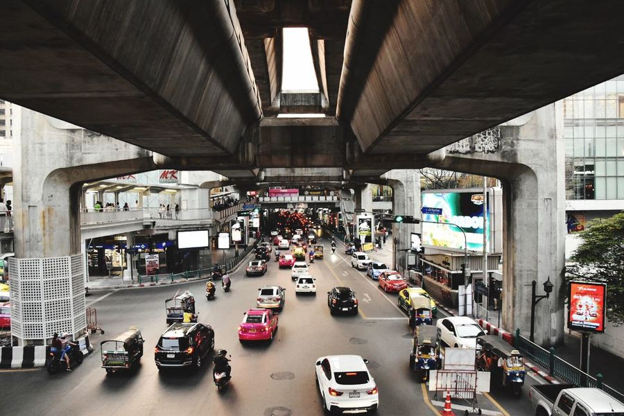 One of the many layers of Bangkok Bangkok Transportation Architecture Car Motor Vehicle Mode Of Transportation Built Structure Stories From The City Bridge City Life High Angle View Traffic