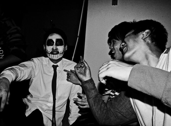 Drunk Halloween Halloween EyeEm Blackandwhite Day Halloween Horror Indoors  Leisure Activity Men Party People Portrait Portrait Photography Real People Spooky Two People Weapon Young Adult