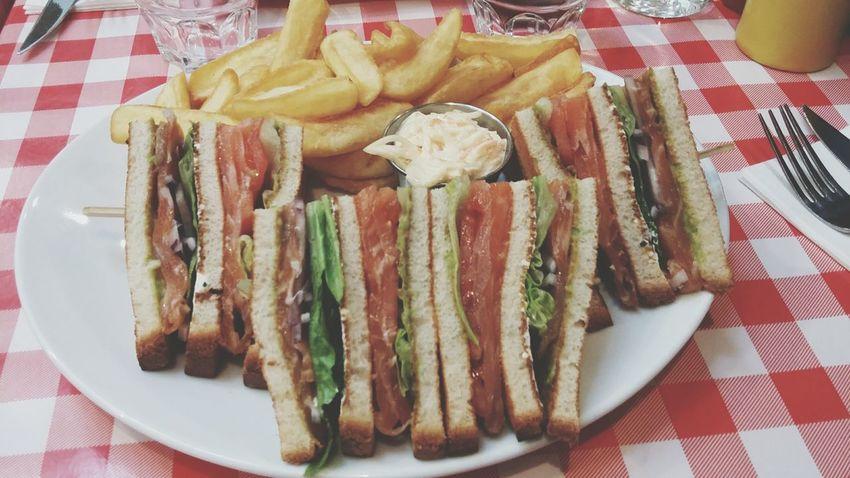 That's a sandwich ! Club Sandwich Smoked Salmon  French Fries Schwarz's Le Marais Paris Yummy
