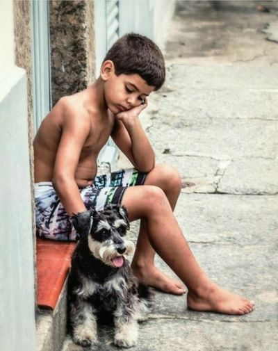 A Boy And His Dog Childhood Dog❤ The Week Of Eyeem This Week On Eyeem Schnauzers Minischnauzer Good Friends