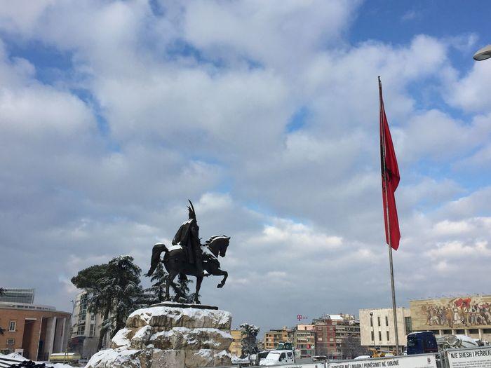 Tirane Albania #snowtirana #snow #skanderbeg #albaniaflag Cloud - Sky Flag City
