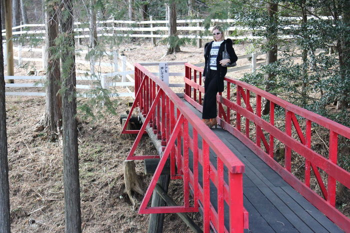 Adult Adults Only Bridge Nature Day Full Length Leisure Activity Model One Man Only One Person Only Men Outdoors People Red Red Bridge
