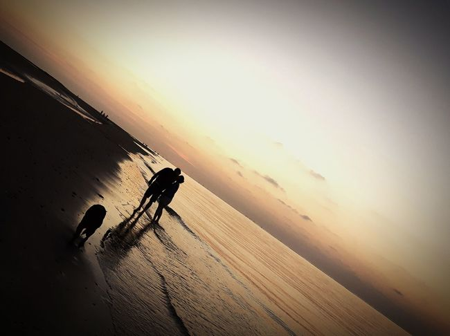 First Eyeem Photo Beach Girl And Boy Dog Sunset Love Happy