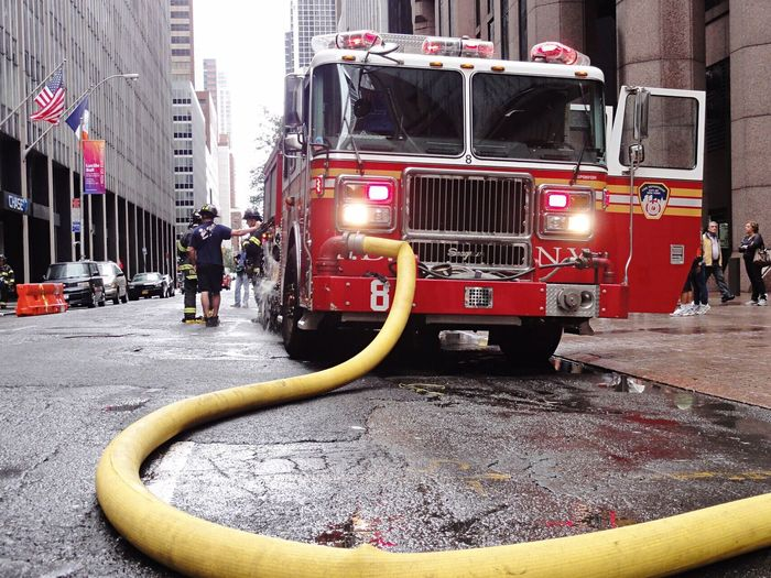 🔥 fire in City 🚒 NYC Fire Truck NYC Manhattan Red Fire Engine Outdoors City Building Exterior Firefighter Architecture