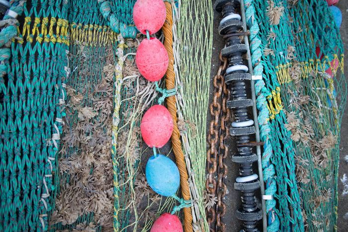 Beautifully Organized Fishing Net Hanstholm Denmark Structures & Lines Multi Colored Close-up Backgrounds
