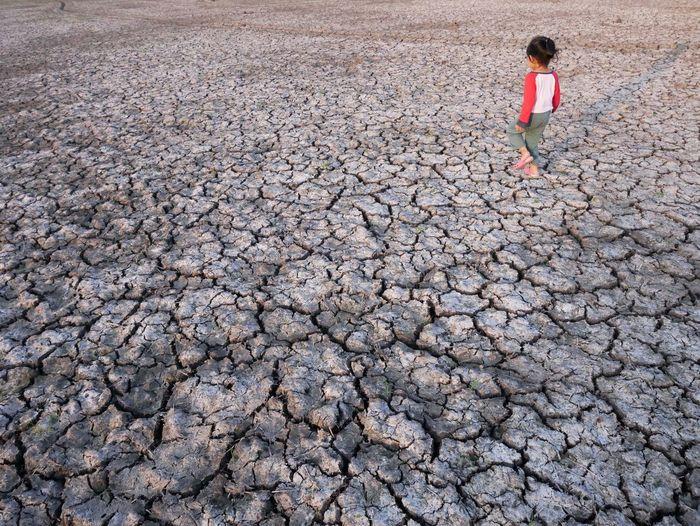 Girl Walking On Barren Landscape