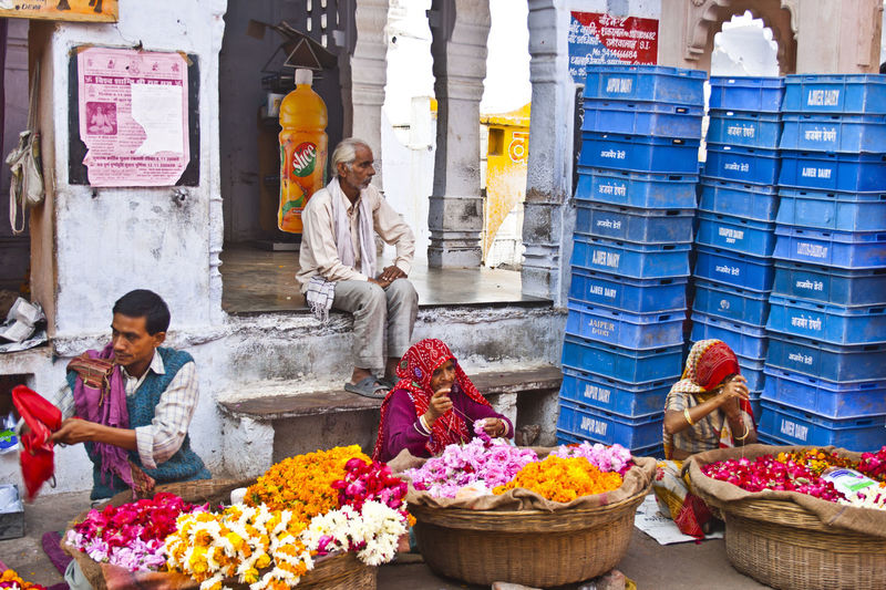 View of people at market stall
