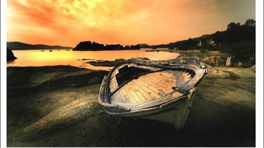 Bafa Boat Transportation Nautical Vessel Sunset Mountain Water Scenics Tranquil Scene Auto Post Production Filter Tranquility Mode Of Transport Sky Dramatic Sky Beauty In Nature Dusk Absence Moored Beach Lake Mountain Range