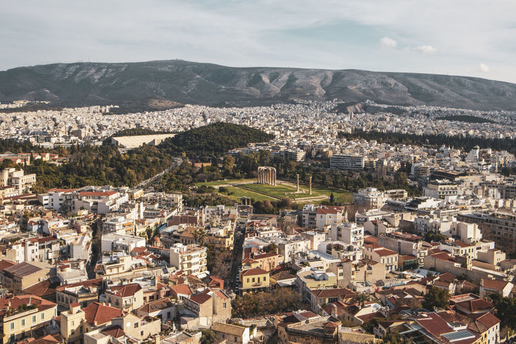 Acropolis Athens Greece Athens, Greece Acropolis Building Exterior Architecture Built Structure Cityscape Building Residential District City Crowd Crowded High Angle View Mountain Sky Nature Town Day Outdoors Community Cloud - Sky TOWNSCAPE Urban Sprawl