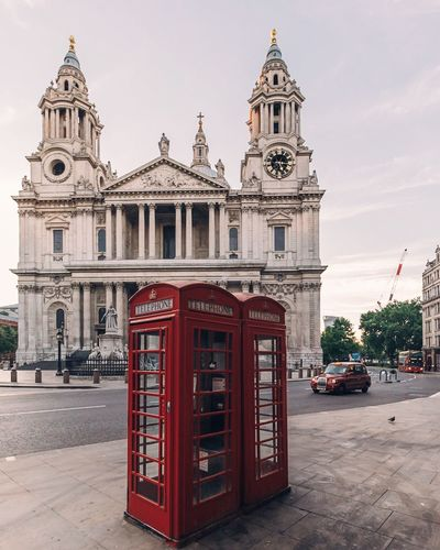 EyeEm Selects Phone Boxes Architecture Building Exterior Built Structure Place Of Worship Travel Destinations Telephone Booth No People City Urban London Urbanphotography Cathedral