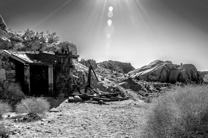 Abandoned Places American Landscape Black & White Blackandwhite Day Goldrush Joshua Tree National Park No People North America Old Buildings Old Mineworks Old Times Outdoors Sun Sunlight