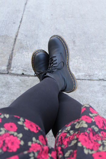 Adult Adults Only Close-up Day Doc Martens Fashion Human Body Part Human Leg Lifestyles Low Section One Person One Woman Only Outdoors People Personal Perspective Plus Sized Plus Sized Girl Real People Rose Dres Shoe Torrid Dress Women