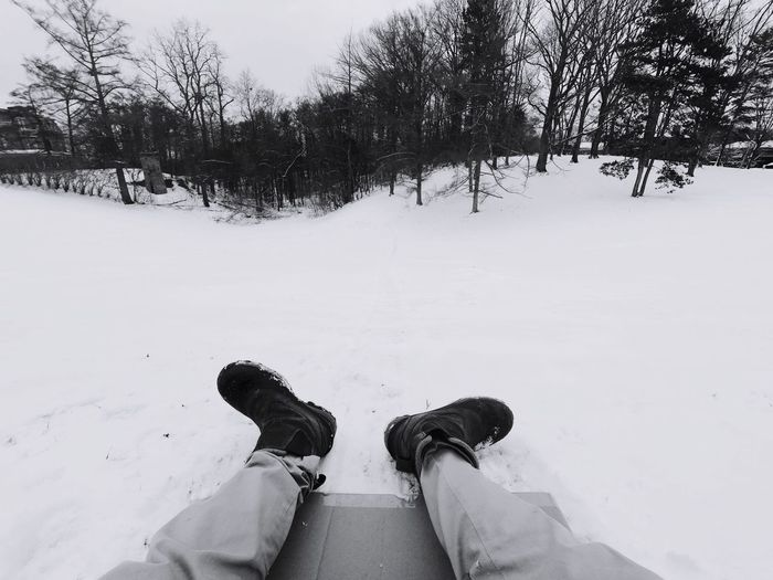 Sledding! Sledding ❄ Sledding Winter Low Section Snow Personal Perspective Human Leg Shoe Cold Temperature Outdoors