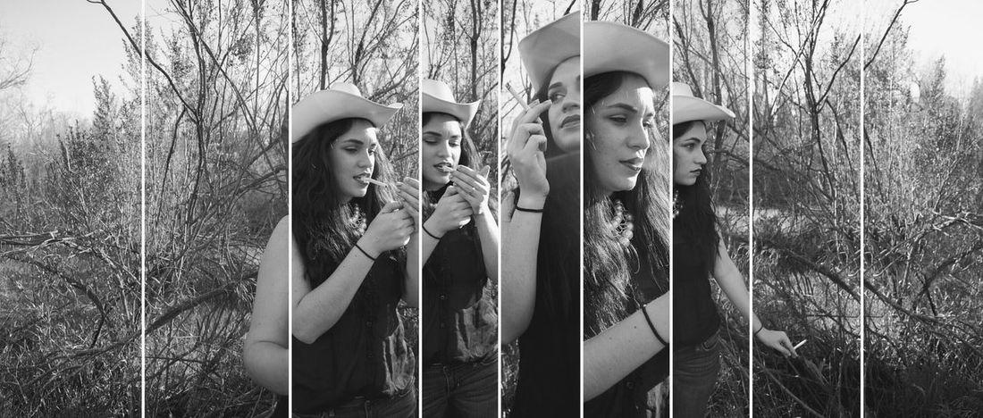 Panoramic Wild Cowgirl Diptic Blackandwhite Fashion Smoking River The Portraitist - 2015 EyeEm Awards