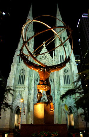 Atlas Back View Cathedral Church City Fifth Avenue NYC New York New York City Night Lights St Patrick's Cathedral Architecture Atlas Statue Bronze Sculpture Bronze Statue Building Exterior Church Towers City Lights Front View Illuminated Low Angle View Night Night View No People Sculpture Statue