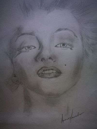 Ritratto Marylin Monroe Matitabiancoenero Beautiful Woman Ink Human Face Females Sketch Close-up