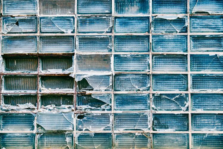 Full frame shot of damaged glass of window