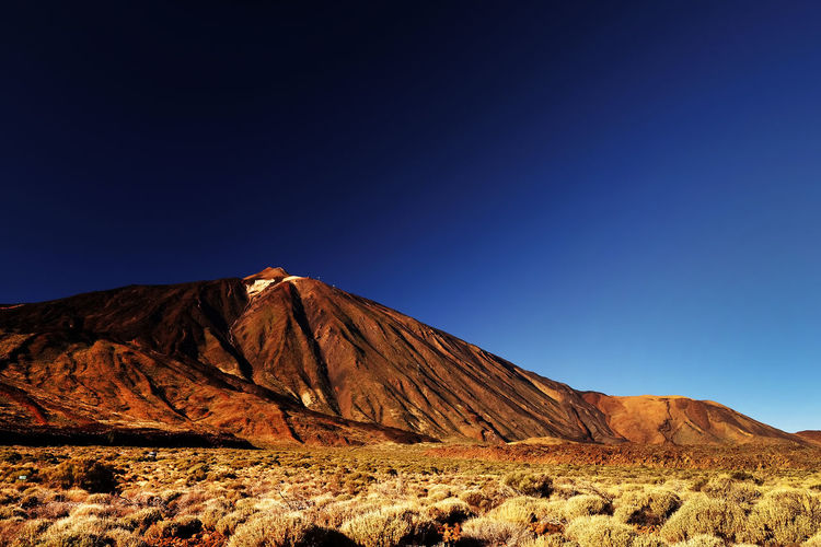 Scenic View Of Rocky Mountain At El Teide National Park Against Clear Blue Sky