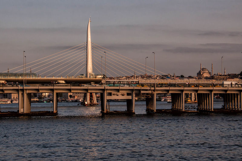 Golden Horn Metro Bridge Over Sea Against Sky