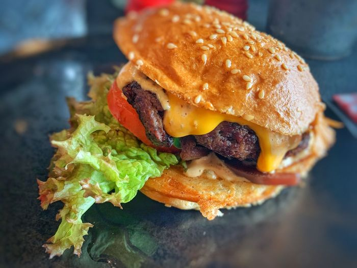 Close-up of burger in plate